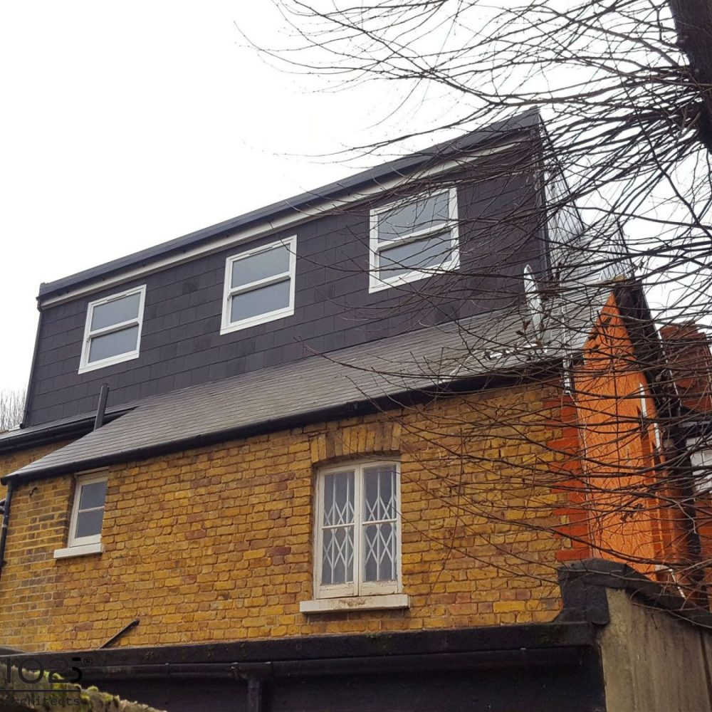 Rear and Side Elevations after loft conversion